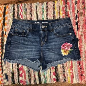 Old Navy Jean Shorts with Rose Embroidery